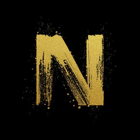 nombre d or: Or lettre étincelante N dans le style peint à la main de brosse
