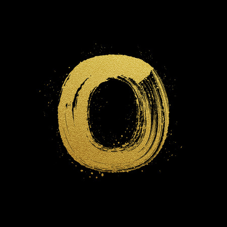 expressive style: Gold glittering letter O in brush hand painted style