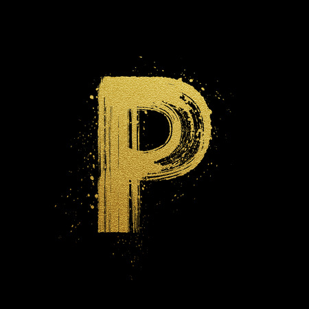 sand: Gold glittering letter P in brush hand painted style