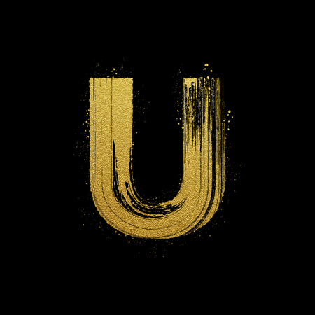 expressive style: Gold glittering letter U in brush hand painted style Illustration