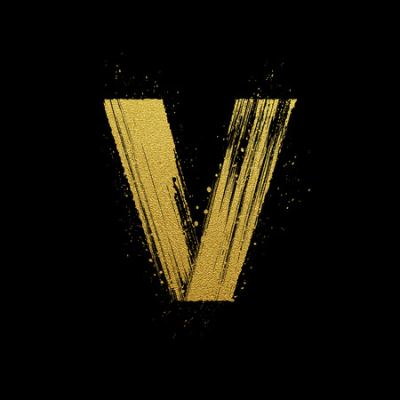 expressive style: Gold glittering letter V in brush hand painted style