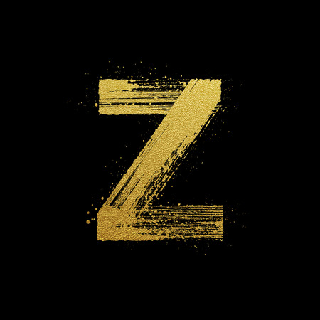 letter a z: Gold glittering letter Z in brush hand painted style