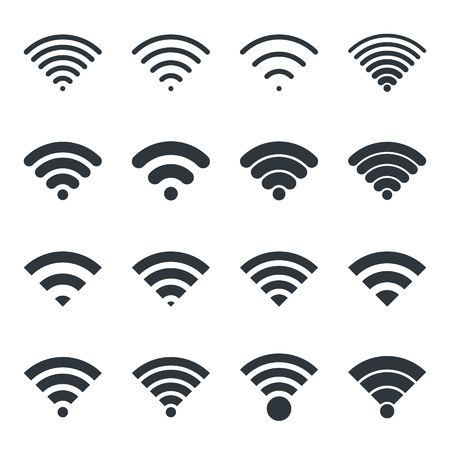 wireless network: Black wireless icons set