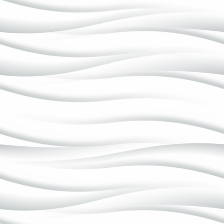 waves pattern: White seamless texture. Wavy background. Interior wall decoration. 3D Vector interior wall panel pattern. Vector white background of abstract waves. Illustration
