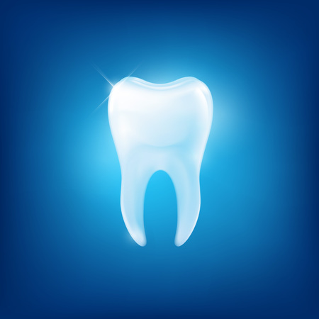 dental health: white tooth fang on blue background