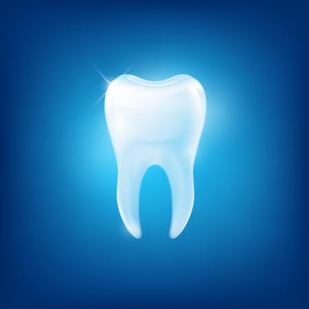 witte tanden fang op blauwe achtergrond Stock Illustratie