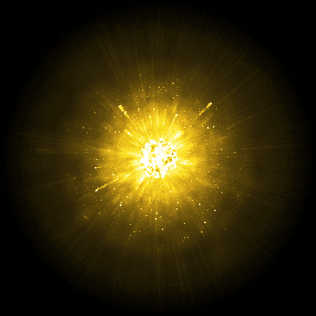 hellish: Gold big solar explosion background Stock Photo