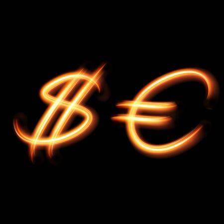 dollaro: Glowing simboli luce del dollaro e dell'euro. Dipinto a mano illuminazione. Vettoriali