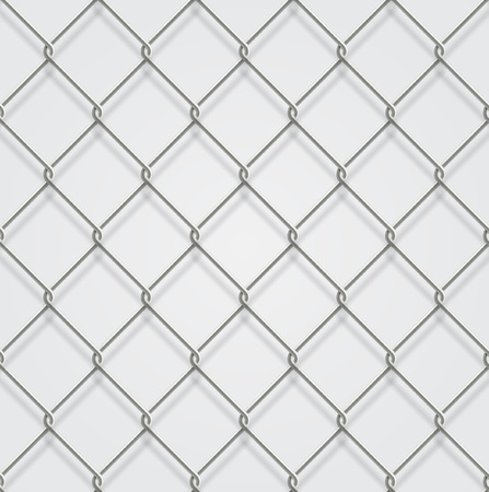 detain: Seamless chain fence white background with shadow. Illustration