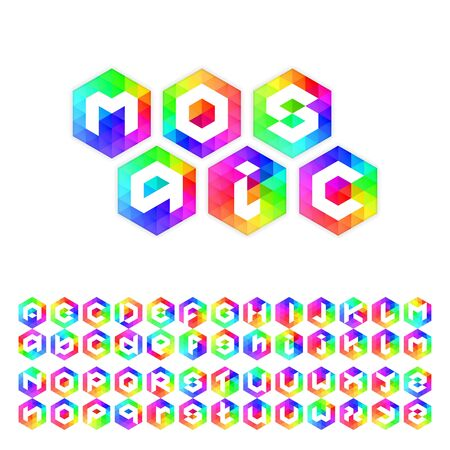 upper case: Triangle mosaic font for icons in web and apps or icon design. Upper case and lower case.