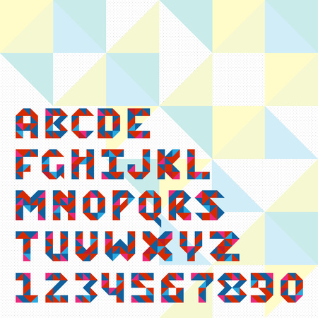 upper case: Triangle mosaic font for icons in web and apps or icon design. Upper case and numbers
