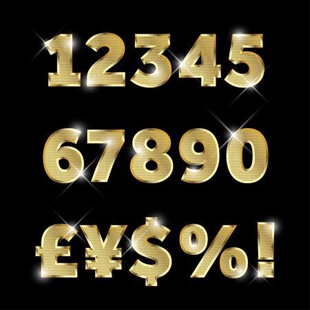 nombres: Or métal brillant jeu de l'alphabet de chiffres et de signes monétaires.