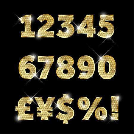 Gold glittering metal alphabet set of numbers and currency signs. Vectores