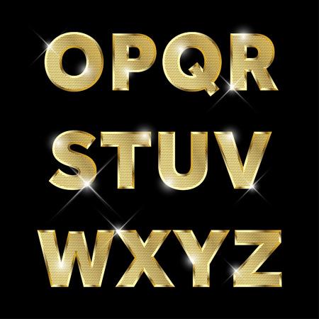 Gold glittering metal alphabet set from O to Z uppercase. Vettoriali
