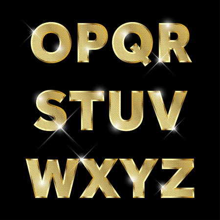 Gold glittering metal alphabet set from O to Z uppercase. Vectores