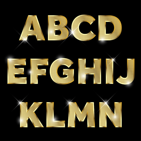 bright alphabet: Gold glittering metal alphabet set from A to N uppercase.