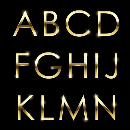 tipos: Oro alfabeto vector del metal fijado de la A a N mayúscula. Vectores