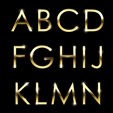 Gold vector metal alphabet set from A to N uppercase. Illustration