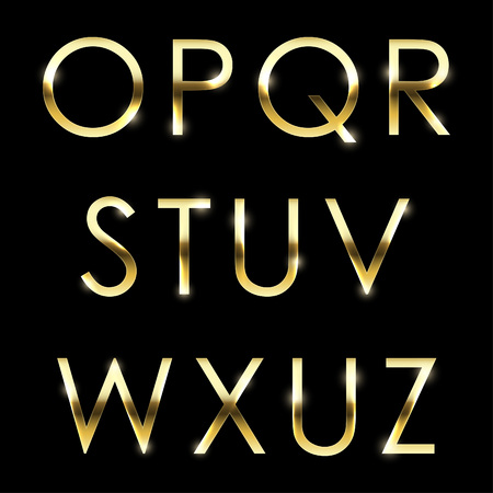 type: Gold vector metal alphabet set from O to Z uppercase. Illustration