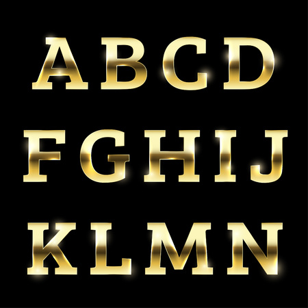 Gold glittering metal alphabet set from A to N uppercase.