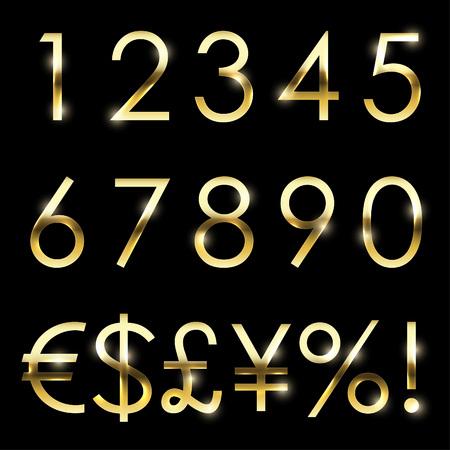 numera: Fuente brillante del oro del vector con la moneda adicional, n�meros y s�mbolos y signos especiales. Vectores