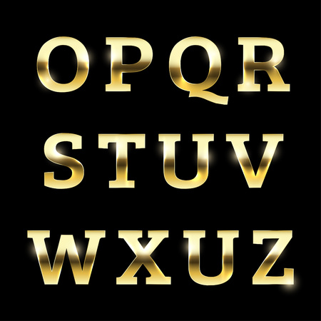 Gold glittering metal alphabet set from O to Z uppercase. Ilustrace