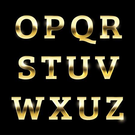 Oro alfabeto metal brillante ajustado desde O a la Z mayúscula. Foto de archivo - 44231651