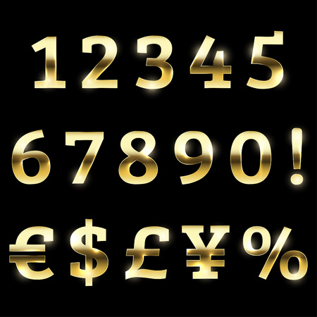 Gold glittering font set with additional currency, numbers and special symbols and signs.