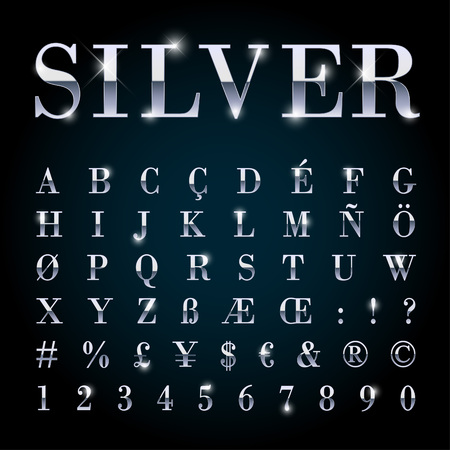 Silver metal font set with letters, numbers, currency sings and special alphabet symbols Stock Vector - 44231650