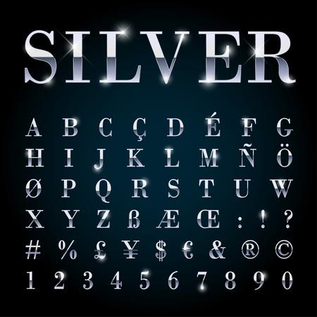 Zilverkleurige metalen lettertype met letters, getallen, valuta zingt en speciale alfabet symbolen
