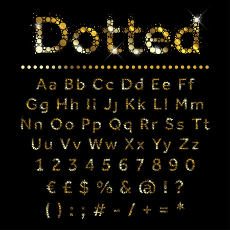 alphabet a: Gold dotted glittering metal alphabet set. Vector gold font with additional currency, numbers and special symbols and signs.