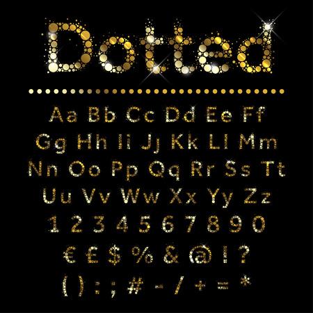 letras de oro: Punteado oro brillante conjunto alfabeto metal. Vector de fuente de oro con moneda adicional, números y símbolos y signos especiales.
