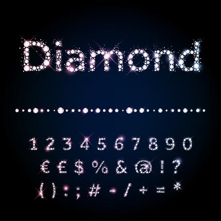 diamante: Brillante fuente vectorial diamante fijó números y símbolos especiales