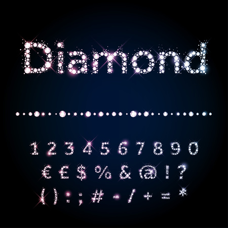 diamond jewelry: Shiny diamond vector font set numbers and special symbols Illustration