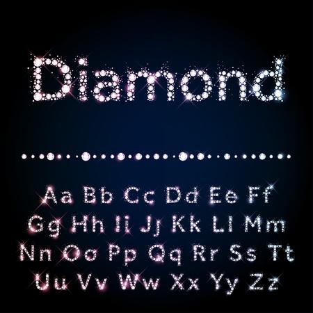 carta: Brillante vector de diamante fuente conjunto A a Z mayúsculas y minúsculas