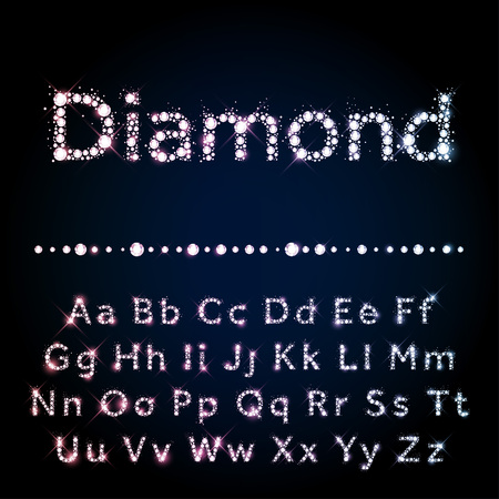 Shiny diamond vector font set A to Z uppercase and lowercase 向量圖像
