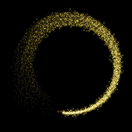 Gold star dust glittering circle