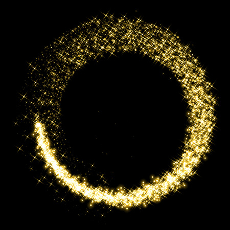 defocused: Gold star dust glittering circle