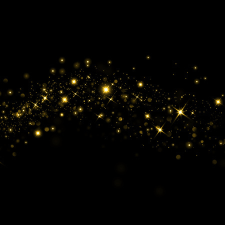 Glittering golden bokeh stars on black background