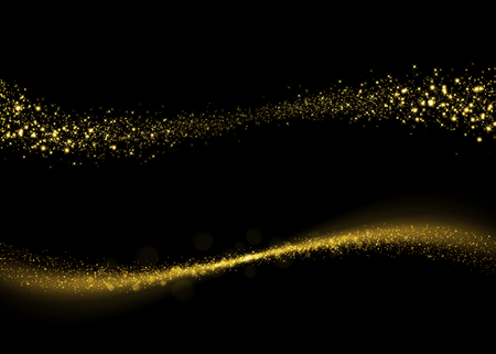 bling bling: Glittering gold dust tail. Twinkling glitter. Abstract glittering wave Stock Photo