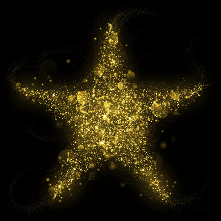 Gold glittering star shape of blinking stars