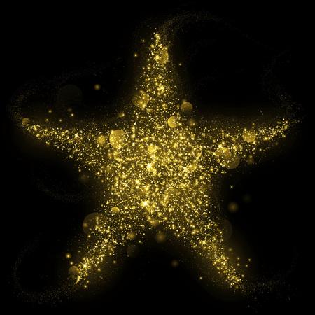 Gold glittering star shape of blinking stars