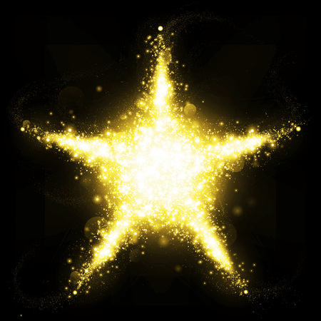 blue stars: Gold glittering star shape of brightly blinking stars