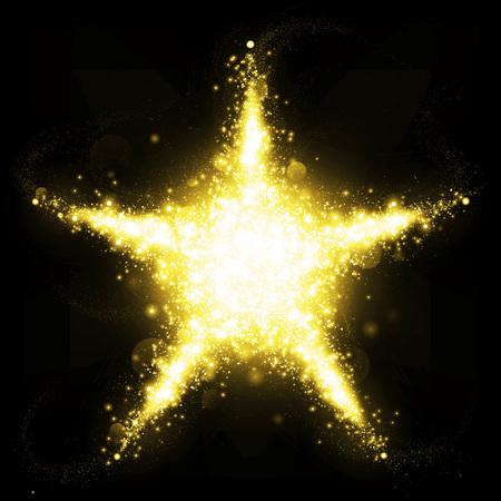 Gold třpytivý ve tvaru hvězdy zářivě blikajícími hvězdami Reklamní fotografie