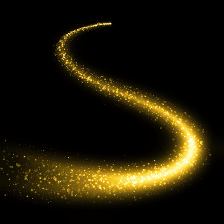 tail light: Gold glittering bokeh stars dust tail. Glittering gold smoke tail. Twinkling glitter.