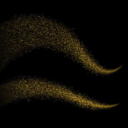 Gold glittering bokeh stars dust tail. Glittering gold smoke tail. Twinkling glitter.