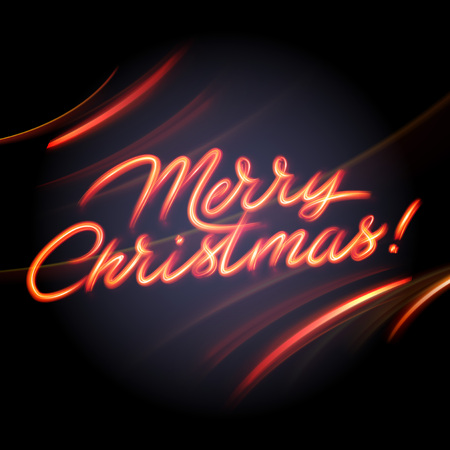 light painting: Glowing light lettering of Merry Christmas. Hand lighting painting Illustration