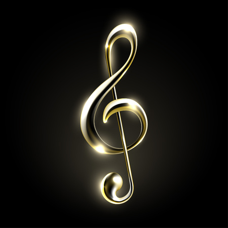 Golden metallic music note sign. Music icon