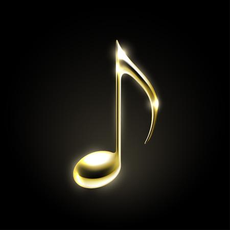Golden metallic music note sign. Music icon