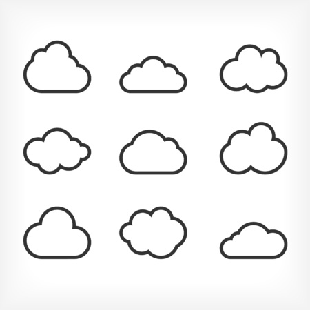 Vector outlined cloud icons set. Cloud shapes collection. Cloud icons for web and applications. Çizim